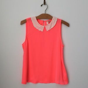 Bright Neon Pink Tank Blouse with Peter Pan Collar